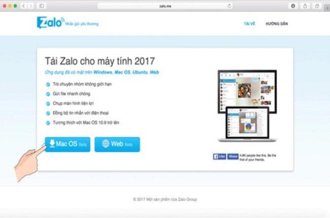 Cách cài đặt ứng dụng Zalo cho máy tính Macbook 1