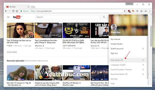 Cách kích hoạt tính năng Dark Mode trên Youtube nền Web 6