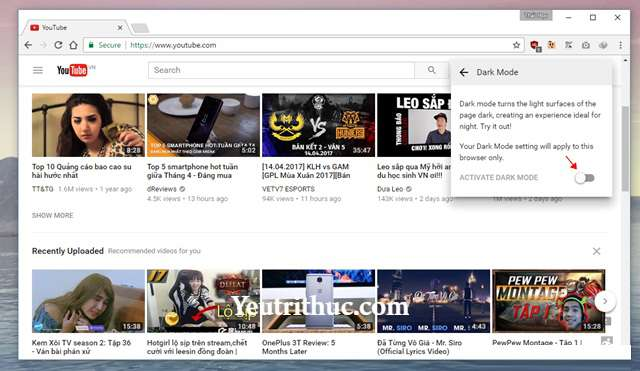 Cách kích hoạt tính năng Dark Mode trên Youtube nền Web 7