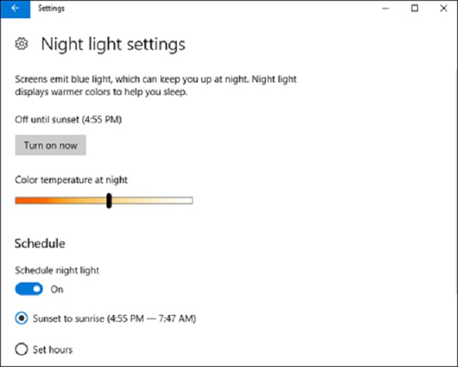 Night Light Win 10 là gì, cách bật và sử dụng chế độ NightLight 2