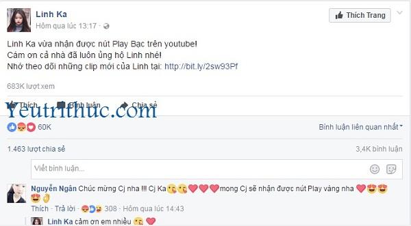 Hotgirl Linh Ka nhận nút Play Bạc Youtube gây xôn xao Facebook 2