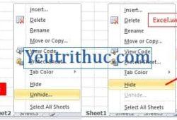 Lỗi Excel bị ẩn Sheet không nhìn thấy và cách hiện Sheet trong Excel