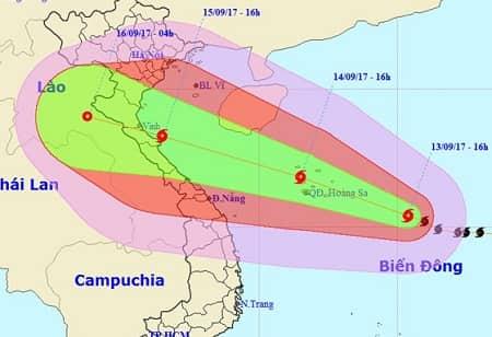 Tin bão số 10 năm 2017: vào các tỉnh Thanh Hóa - Quảng Trị 15/9