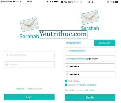 Cách đăng ký tạo tài khoản Sarahah trên Android, iOS và nền web 2