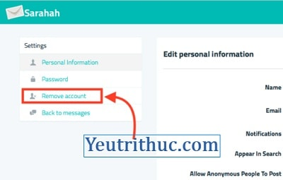 Hướng dẫn cách delete, xóa tài khoản Sarahah loại bỏ hoàn toàn 3