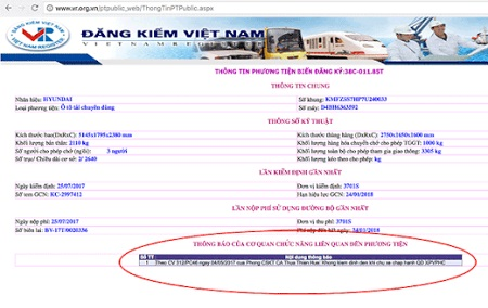 Cách tra cứu phạt nguội trên trang web Cục Đăng Kiểm Việt Nam 3