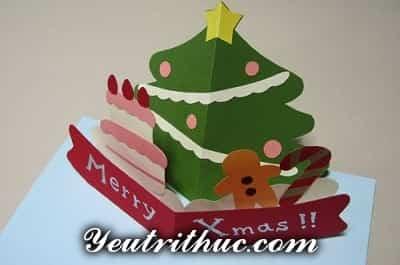 Cách làm thiệp Giáng sinh hình Cây thông Noel 3D ý nghĩa 11