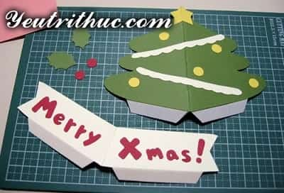 Cách làm thiệp Giáng sinh hình Cây thông Noel 3D ý nghĩa 8