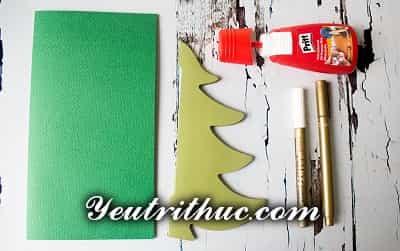 Cách làm thiệp Giáng sinh hình Cây thông Noel 3D ý nghĩa 12