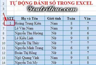 Cách đánh số thứ tự trong Excel 5
