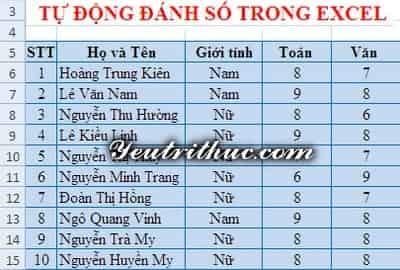 Cách đánh số thứ tự trong Excel 8