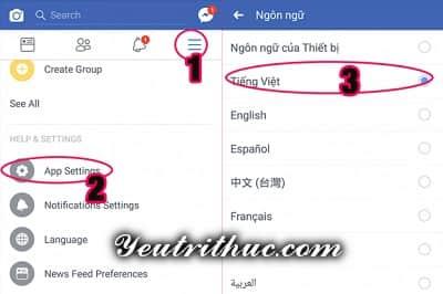 Cách chuyển đổi ngôn ngữ ứng dụng Facebook sang tiếng Việt 2