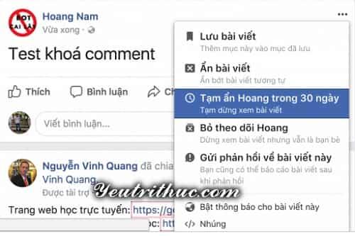 Cách tạm ẩn theo dõi Unfollow Facebook người khác trong 30 ngày 1