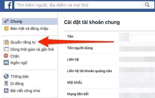 Cách chặn tìm kiếm nick Facebook từ email, SĐT và trên Google 3
