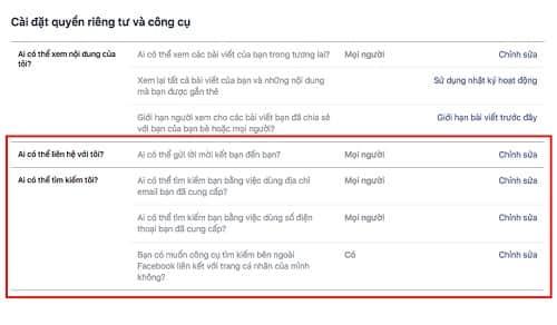 Cách chặn tìm kiếm nick Facebook từ email, SĐT và trên Google 4