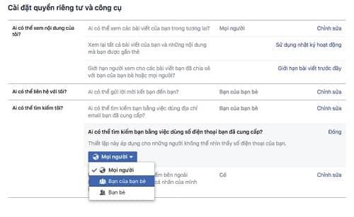 Cách chặn tìm kiếm nick Facebook từ email, SĐT và trên Google 8