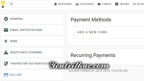 Thêm thẻ thanh toán VISA Mastercart trên Minds.com 1