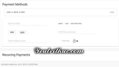 Thêm thẻ thanh toán VISA Mastercart trên Minds.com 2