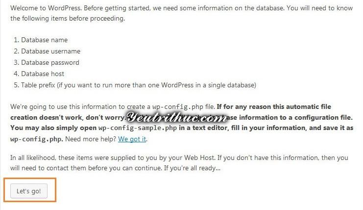 Tiến hành cài đặt WordPress 1