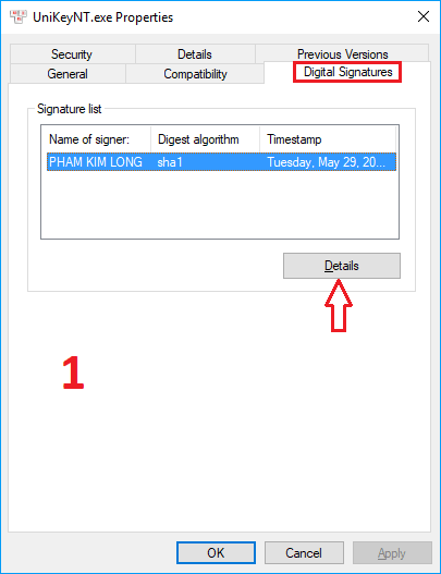 cách kiểm tra chứng thực UniKey 4