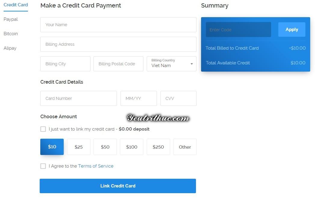 đăng ký tạo tài khoản Vultr 6
