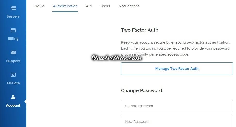 Cách thay đổi mật khẩu tài khoản Vultr 1