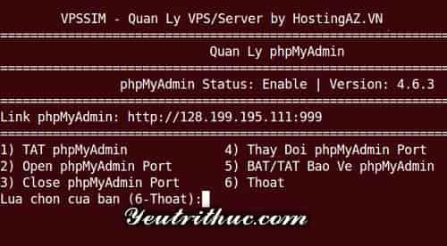Hướng dẫn cách đổi Port PhpMyAdmin trên VPSSIM