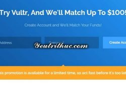 Cách nhận 100$ Free Credit từ Vultr 1
