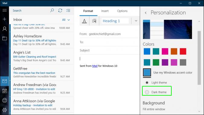 Cách kích hoạt, bật chế độ xem tối Dark Theme trên Windows 10 13