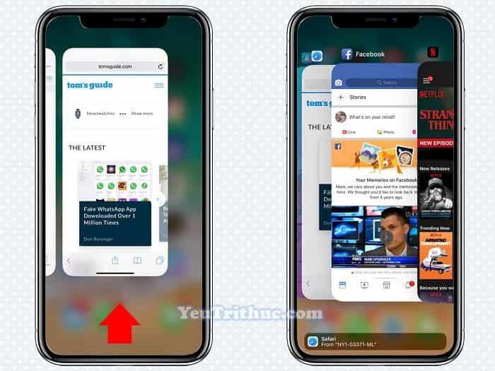 Cách đóng thoát, tắt ứng dụng app trên iPhone XS, XS Max, XR 2