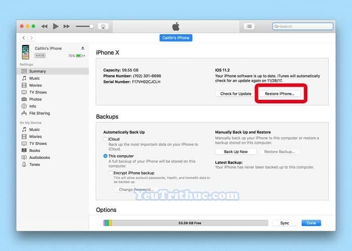Restore dữ liệu từ iTunes, iCloud trên iPhone XS, XS Max và XR 6