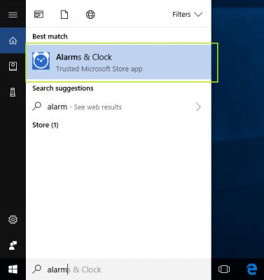 Cách bật hẹn giờ báo thức Alarms & Clock trên Windows 10 2