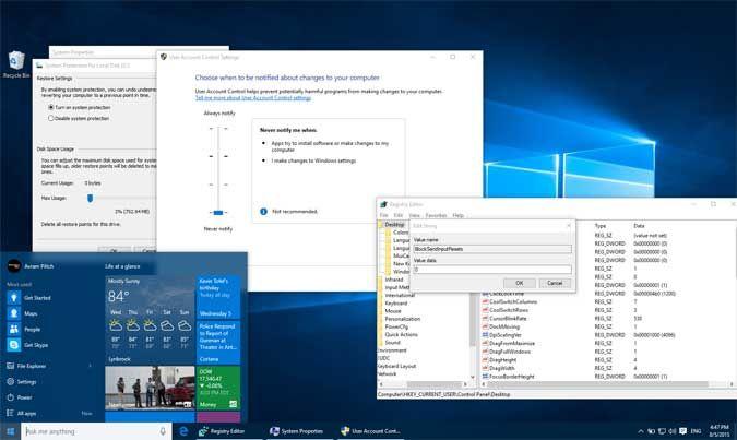 Những thiết lập cài đặt mặc định trên Windows 10