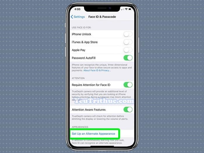 Cách đăng ký, thiết lập cài đặt khuôn mặt Face ID thứ 2 trên iOS 12 5