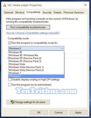 Chế độ Tương thích Ứng dụng Compatibility Mode trên Windows 10 11