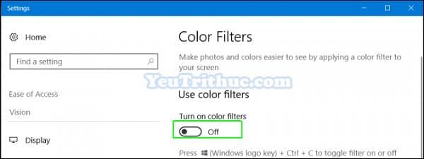 Cách bật tắt chế độ đơn sắc Grayscale Mode trên Windows 10 4
