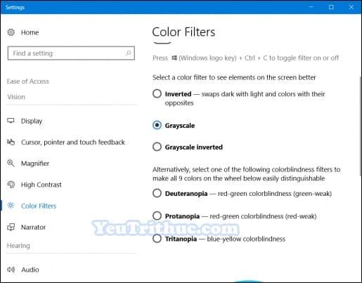 Cách bật tắt chế độ đơn sắc Grayscale Mode trên Windows 10 5