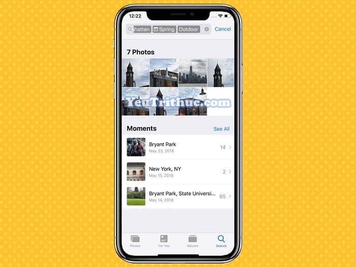 Cách tìm kiếm hình ảnh Search mới trong Photos trên iOS 12 5