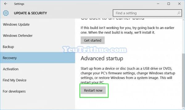 Cách truy cập vào BIOS trên Windows 10 trực tiếp trong hệ điều hành 5