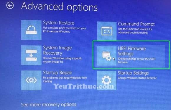 Cách truy cập vào BIOS trên Windows 10 trực tiếp trong hệ điều hành 8