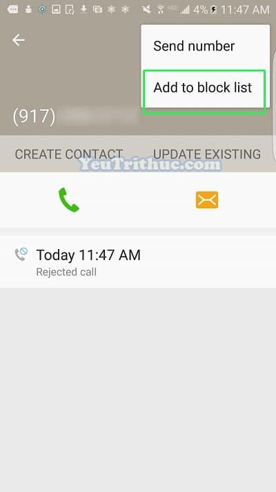 Cách block số điện thoại chặn cuộc gọi trên Galaxy S7, S7 Edge 5