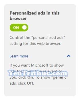 Cách tắt quảng cáo cá nhân hóa trang web, ứng dụng của Microsoft 2