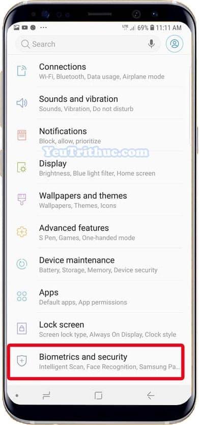 Cách thiết lập cài đặt cảm biến dấu vân tay trên Galaxy Note 9 2