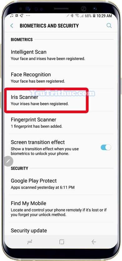 Cách kích hoạt, cài đặt quét mống mắt Iris Scan trên Galaxy Note 9 2