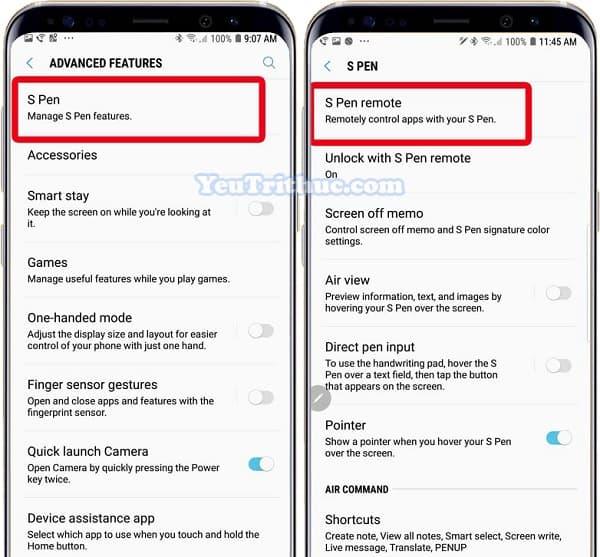 Cách thiết lập cài đặt và sử dụng bút từ S Pen trên Galaxy Note 9 3