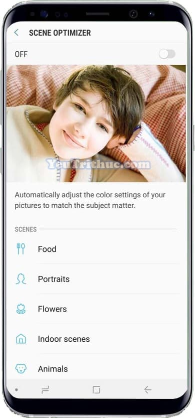 Cách bật tắt, sử dụng Scene Optimizer trên camera Galaxy Note 9 5