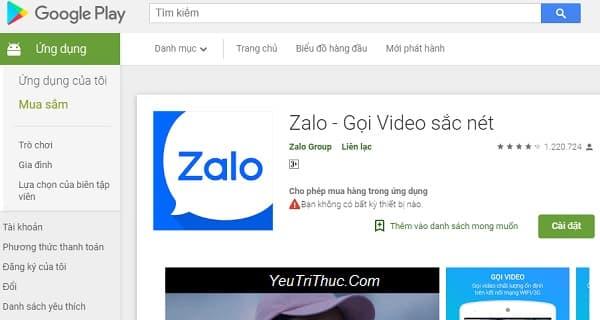 Cách cài đặt ứng dụng Zalo trên smartphone Android từ Google Play 1