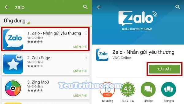 Cách cài đặt ứng dụng Zalo trên smartphone Android từ Google Play 3