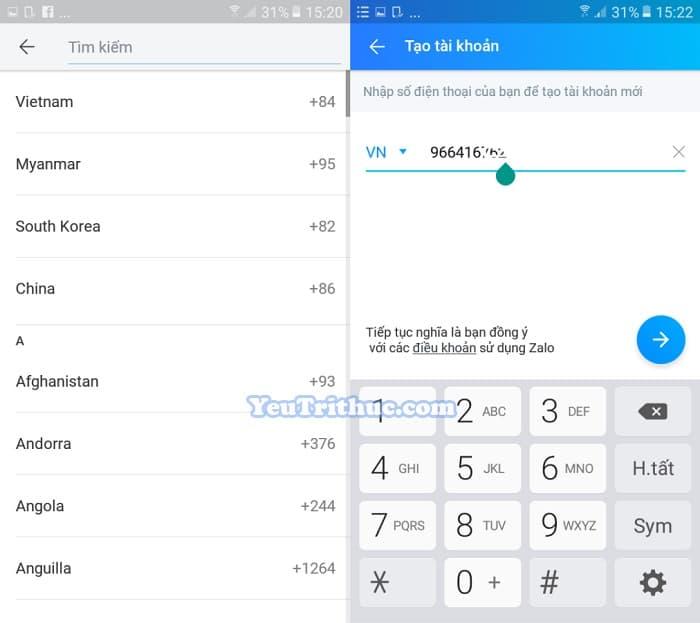 Hướng dẫn Cách đăng ký tạo tài khoản nick Zalo trên Android 2