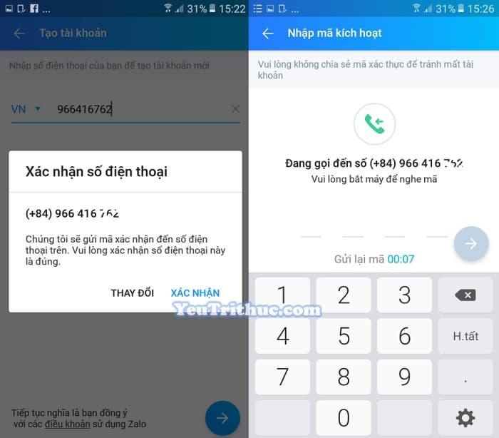 Hướng dẫn Cách đăng ký tạo tài khoản nick Zalo trên Android 3